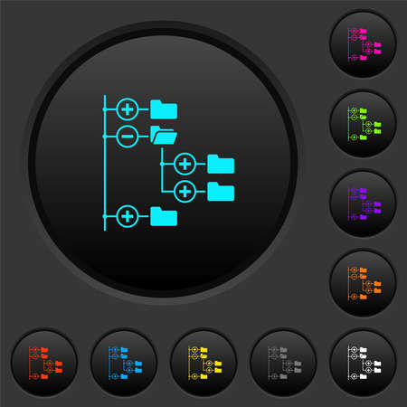 Directory browser dark push buttons with vivid color icons on dark gray background  イラスト・ベクター素材