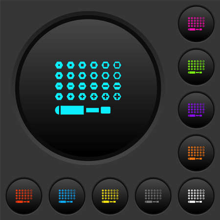 Set of screwdriver bits dark push buttons with vivid color icons on dark gray background