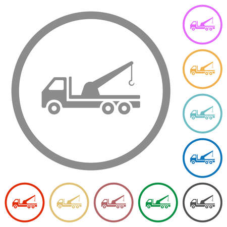 Crane truck flat color icons in round outlines on white background Stock Illustratie