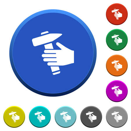 Hammer in hand round color beveled buttons with smooth surfaces and flat white icons