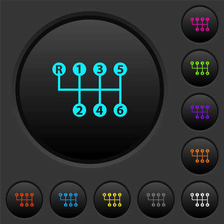 Six speed manual gear shift dark push buttons with vivid color icons on dark gray background