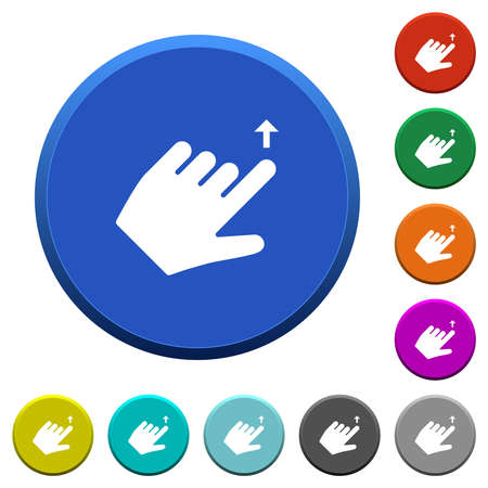 Left handed move up gesture round color beveled buttons with smooth surfaces and flat white icons