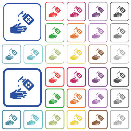 Hand washing with hand sanitizer color flat icons in rounded square frames. Thin and thick versions included. Stock Illustratie