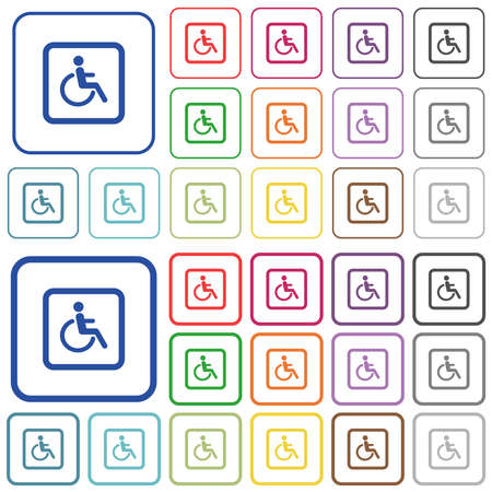 Handicapped parking color flat icons in rounded square frames. Thin and thick versions included.