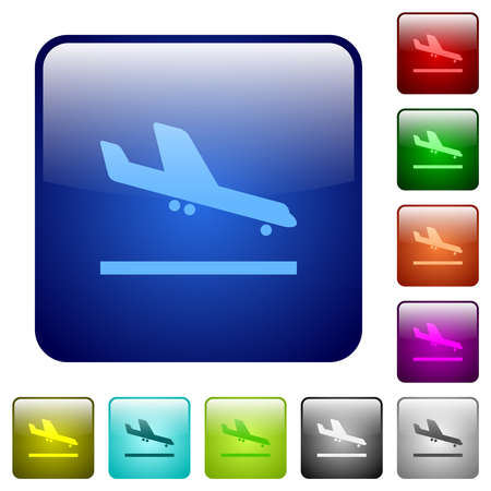 Airplane landing icons in rounded square color glossy button set