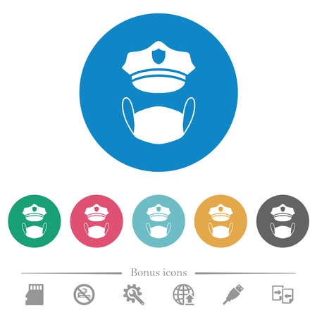Police hat and medical face mask flat white icons on round color backgrounds. 6 bonus icons included.