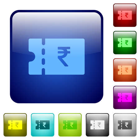 Indian Rupee discount coupon icons in rounded square color glossy button set Archivio Fotografico - 151073854
