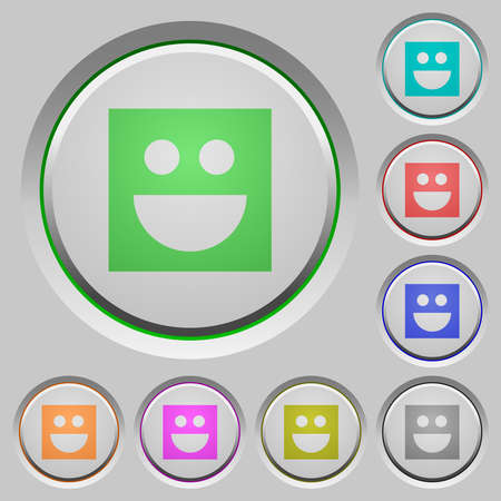 Smiley color icons on heavy push buttons