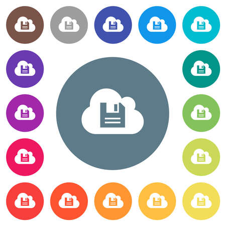 Cloud storage flat white icons on round color backgrounds. 17 background color variations are included.