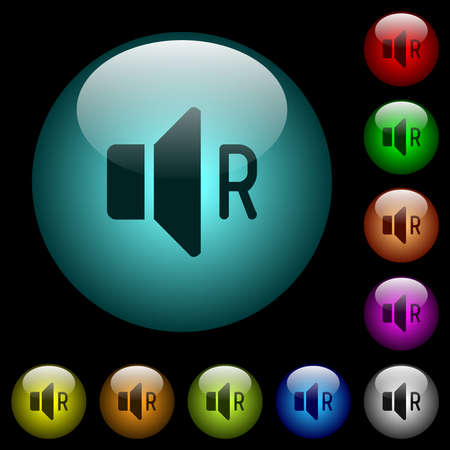 Right audio channel icons in color illuminated spherical glass buttons on black background. Can be used to black or dark templates