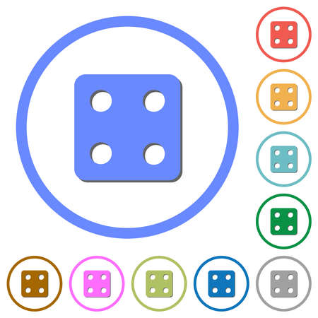 Dice four flat color vector icons with shadows in round outlines on white background