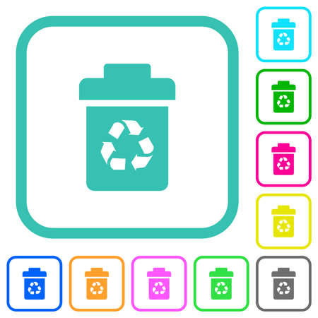 Recycle bin vivid colored flat icons in curved borders on white background Ilustração