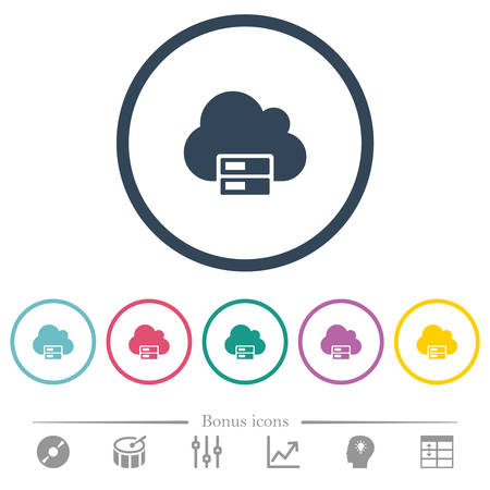 Cloud storage flat color icons in round outlines. 6 bonus icons included.