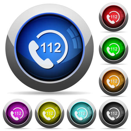 Emergency call 112 icons in round glossy buttons with steel frames in several colors Ilustração