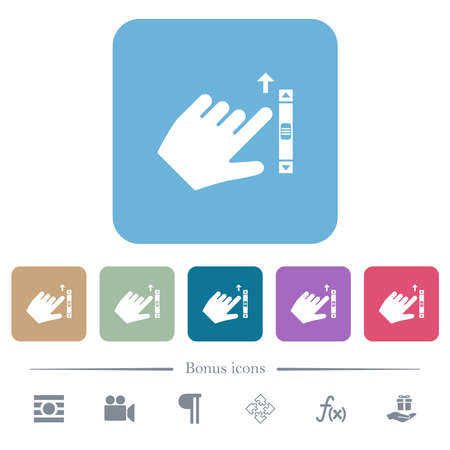 Left handed scroll up gesture white flat icons on color rounded square backgrounds. 6 bonus icons included