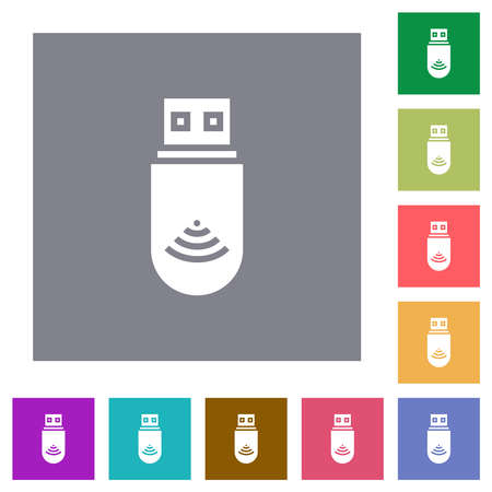 USB wifi dongle flat icons on simple color square backgrounds
