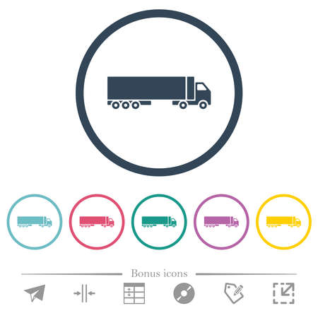 Camion flat color icons in round outlines. 6 bonus icons included.