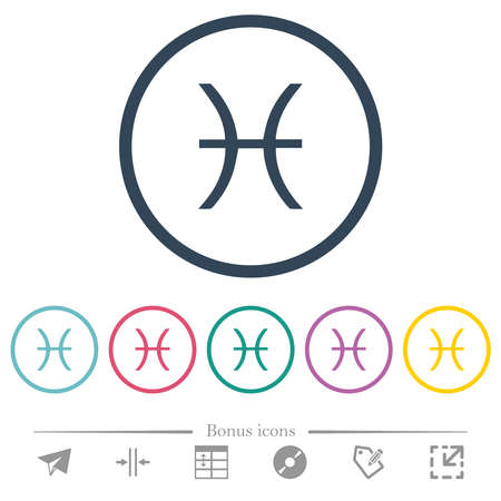 Pisces zodiac symbol flat color icons in round outlines. 6 bonus icons included.