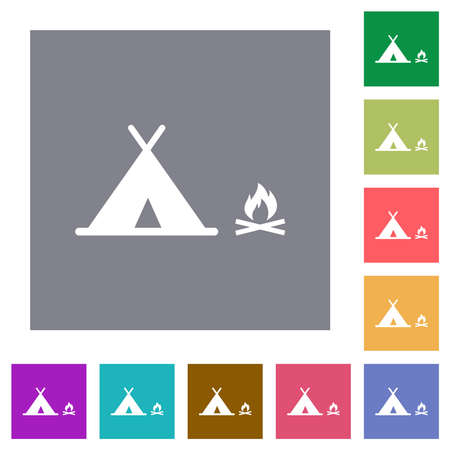 Camping flat icons on simple color square backgrounds