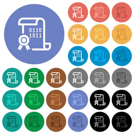 Digital certificate multi colored flat icons on round backgrounds. Includes white, light and dark icon variations for hover and active status effects, and bonus shades.