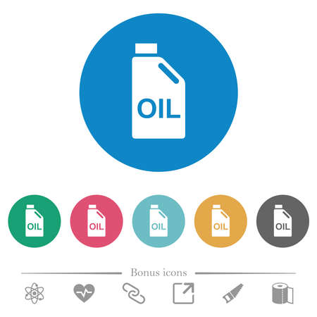 Oil canister flat white icons on round color backgrounds. 6 bonus icons included.