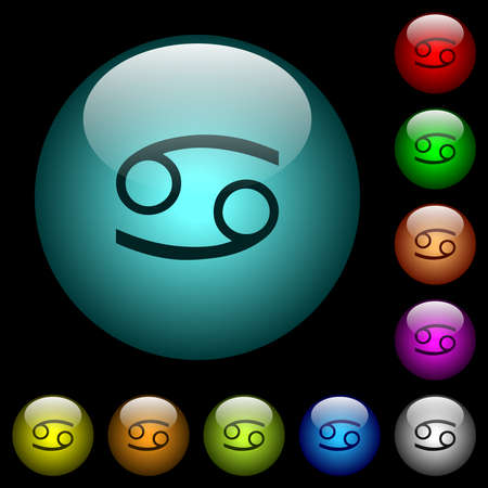 Cancer zodiac symbol icons in color illuminated spherical glass buttons on black background. Can be used to black or dark templates 일러스트