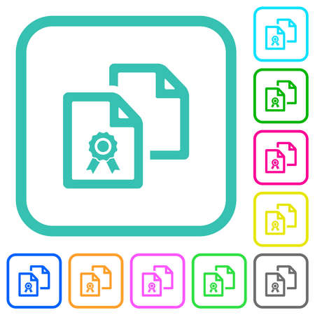 Copy certificate vivid colored flat icons in curved borders on white background  イラスト・ベクター素材