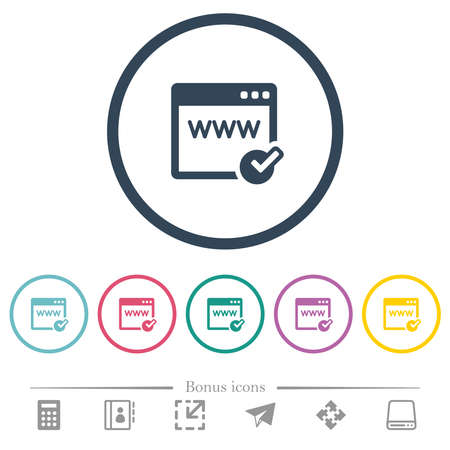 Domain registration flat color icons in round outlines. 6 bonus icons included.