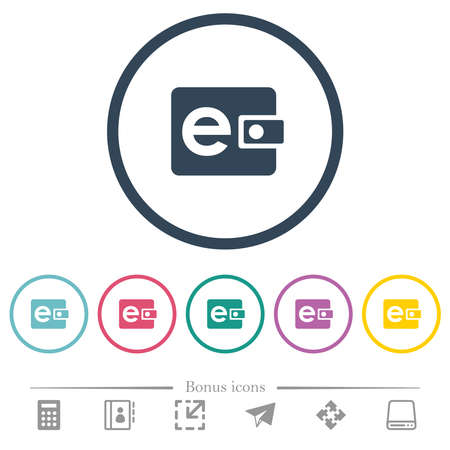 Electronic wallet flat color icons in round outlines. 6 bonus icons included.