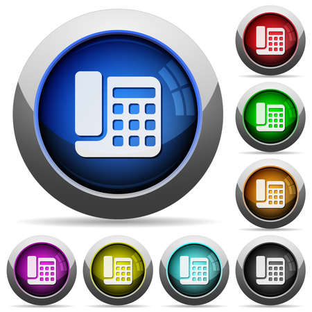 Office phone icons in round glossy buttons with steel frames in several colors