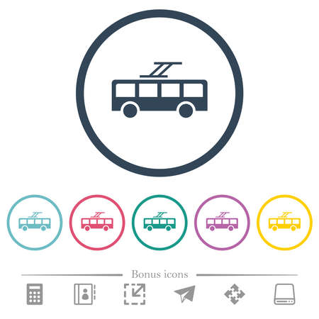 Trolley bus flat color icons in round outlines. 6 bonus icons included.
