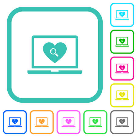 Online dating on laptop vivid colored flat icons in curved borders on white background