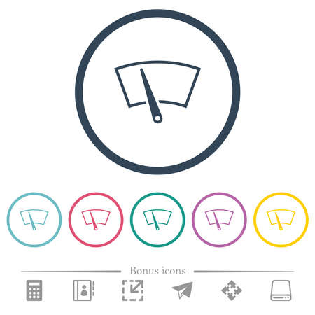 Windshield wiper flat color icons in round outlines. 6 bonus icons included.  イラスト・ベクター素材