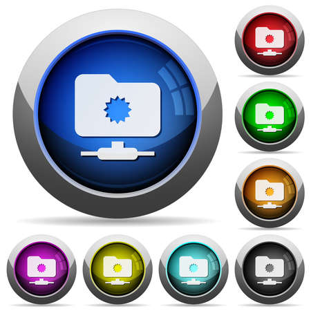 Trusted FTP icons in round glossy buttons with steel frames in several colors