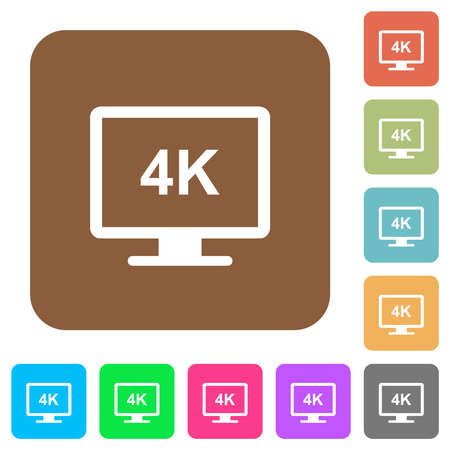 4K display flat icons on rounded square vivid color backgrounds.  イラスト・ベクター素材