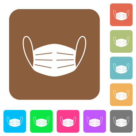 Medical face mask flat icons on rounded square vivid color backgrounds.