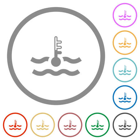 Normal temperature engine coolant flat color icons in round outlines on white background Vektorové ilustrace
