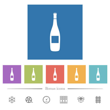 Wine bottle with grapes flat white icons in square backgrounds. 6 bonus icons included.