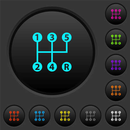 five speed manual gear shift dark push buttons with vivid color icons on dark gray background Vector Illustration
