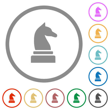 Black chess knight flat color icons in round outlines on white background