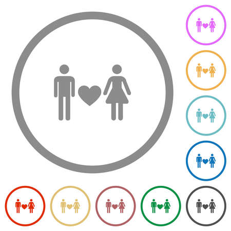 Dating flat color icons in round outlines on white background Ilustracja
