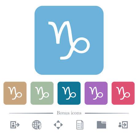 Capricorn zodiac symbol white flat icons on color rounded square backgrounds. 6 bonus icons included