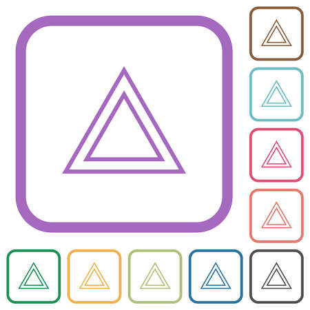 Traffic emergency triangle simple icons in color rounded square frames on white background