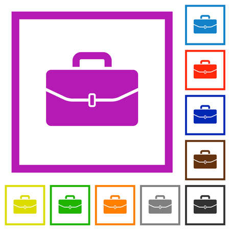 Satchel with one buckle flat color icons in square frames on white background Ilustração
