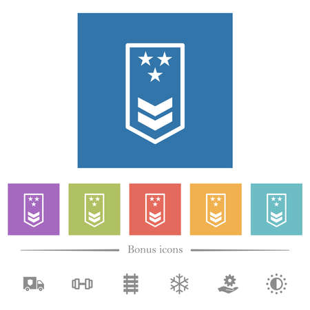 Military insignia with two chevrons and three stars flat white icons in square backgrounds. 6 bonus icons included.
