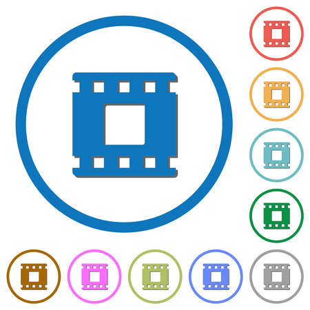 Movie stop flat color vector icons with shadows in round outlines on white background