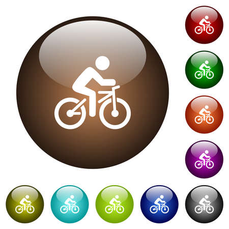 Bicycle with rider white icons on round glass buttons in multiple colors