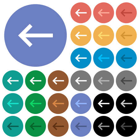 Keyboard backspace with multi colored flat icons on round backgrounds. Includes white, light and dark icon variations for hover and active status effects, and bonus shades.