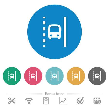 Bus lane flat white icons on round color backgrounds. 6 bonus icons included. 向量圖像