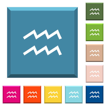 aquarius zodiac symbol white icons on edged square buttons in various trendy colors Illustration